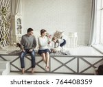portrait of a happy family and... | Shutterstock . vector #764408359