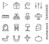 thin line icon set   flag  gift ... | Shutterstock .eps vector #764410435