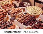 chocolate biscuits lie on the... | Shutterstock . vector #764418391