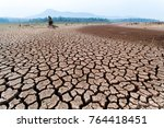 cracked dry land without water...   Shutterstock . vector #764418451