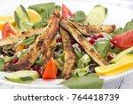 chicken salad close up | Shutterstock . vector #764418739