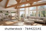living room of luxury eco house ... | Shutterstock . vector #764422141