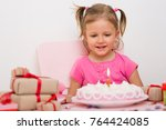 a girl of three years old with... | Shutterstock . vector #764424085