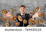 happy businessman throwing... | Shutterstock . vector #764430124
