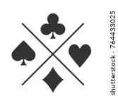 suits of playing cards glyph... | Shutterstock .eps vector #764433025