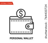 personal wallet icon. thin line ... | Shutterstock .eps vector #764433724