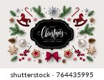 christmas postcard with... | Shutterstock .eps vector #764435995