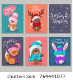 vector new year cards with... | Shutterstock .eps vector #764441077