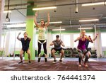 fitness  sport and healthy... | Shutterstock . vector #764441374
