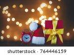 christmas gift box and santa... | Shutterstock . vector #764446159