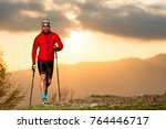 man athlete practicing trail... | Shutterstock . vector #764446717
