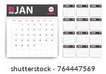 2018 calendar in paper stickers ... | Shutterstock .eps vector #764447569