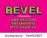 beveled typography design vector   Shutterstock .eps vector #764452807