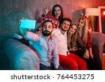 friends making selfie while... | Shutterstock . vector #764453275