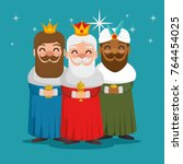 the three magic kings of orient ... | Shutterstock .eps vector #764454025