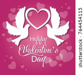 happy valentines card with cute ... | Shutterstock .eps vector #764454115