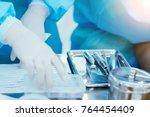 medical instruments of doctor... | Shutterstock . vector #764454409