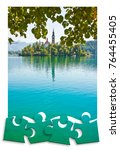 Small photo of Planning a trip to Bled lake, the most famous lake in Slovenia with the island of the church (Europe - Slovenia) - Concept mage in jigsaw puzzle shape