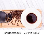 coffee with coffee beans table... | Shutterstock . vector #764457319