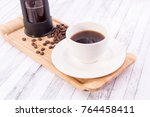 coffee with coffee beans | Shutterstock . vector #764458411