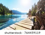 hike to turquoise waters of... | Shutterstock . vector #764459119