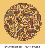 animals of australia. sketches... | Shutterstock .eps vector #764459365