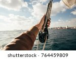 sailor or tourist in windproof... | Shutterstock . vector #764459809