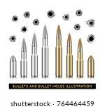 bullets and bullet holes.... | Shutterstock .eps vector #764464459