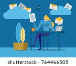 young business woman picking... | Shutterstock .eps vector #764466505