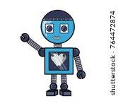 cartoon little robot with heart ... | Shutterstock .eps vector #764472874