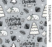 seamless christmas pattern with ... | Shutterstock .eps vector #764473921
