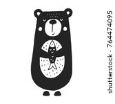 cute hand drawn nursery poster...   Shutterstock .eps vector #764474095