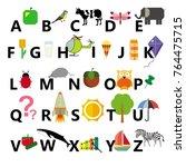 alphabet on the white... | Shutterstock .eps vector #764475715