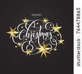 merry christmas golden... | Shutterstock .eps vector #764478865