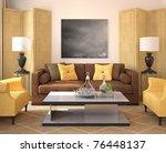 modern living room interior. 3d ... | Shutterstock . vector #76448137