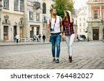 beautiful tourist couple in... | Shutterstock . vector #764482027