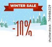 winter sale   beautiful forest  ... | Shutterstock .eps vector #764486329
