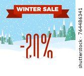 winter sale   beautiful forest  ... | Shutterstock .eps vector #764486341