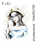 hand drawn beautiful young...   Shutterstock .eps vector #764491759