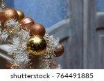 christmas brown golden balls...   Shutterstock . vector #764491885