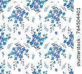sky flowers seampleas pattern  | Shutterstock . vector #764504401