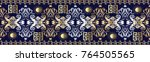 damask seamless border pattern. ... | Shutterstock .eps vector #764505565