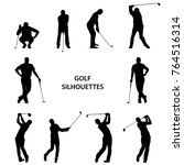 golf different silhouettes on... | Shutterstock .eps vector #764516314