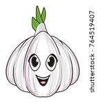 funny face of garlic | Shutterstock . vector #764519407