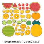 collection set of   organic... | Shutterstock .eps vector #764524219