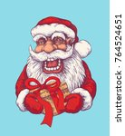 santa claus with a gift. hand...   Shutterstock .eps vector #764524651