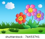 three cartoon flowers on meadow ... | Shutterstock .eps vector #76453741