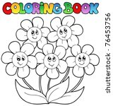 Coloring Book With Five Flower...