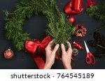 florist hands making christmas... | Shutterstock . vector #764545189