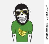 funny smiling monkey dressed in ... | Shutterstock .eps vector #764552674